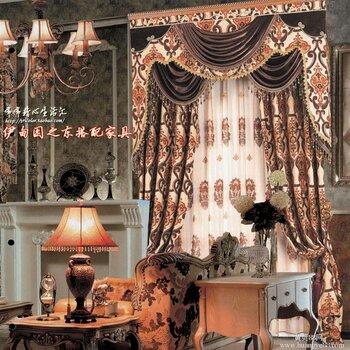 石家庄定做欧式欧顶奢华别墅客厅窗帘