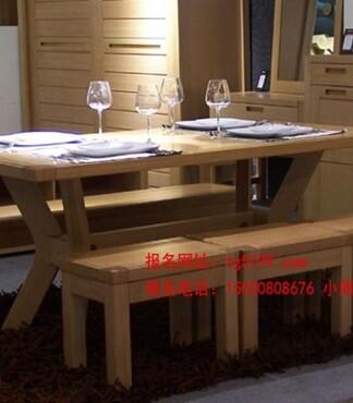 【北欧绿荫全榆木餐桌实木餐桌椅组合简约现代可定制_餐厅家具价格|
