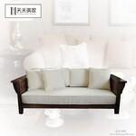 美国红橡木三人沙发实木U型沙发组合美式简约风格图片