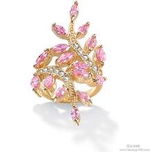 锆石水晶戒指欧美时尚粉色钻戒厂家支持饰品定做