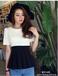 2014春夏女装新款时尚圆领收腰裙摆黑白撞色短袖小洋装