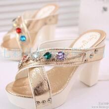 供应交叉带女鞋水钻彩钻镶钻高跟凉鞋女式粗跟拖鞋