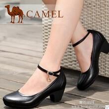 camel骆驼女鞋羊皮舒适粗跟浅口女单鞋2014新款女式真皮鞋