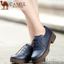 Camel骆驼女鞋舒适百搭新款学院风牛皮圆头系带铆钉深口鞋