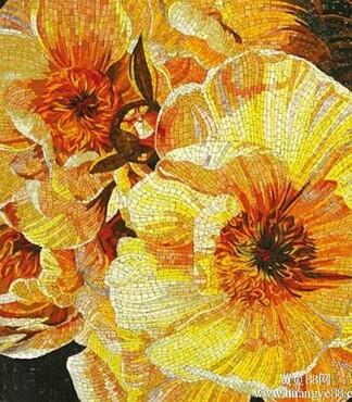 【专业剪画马赛克厂家人物植物风景背景墙艺术马赛克瓷砖贴_花朵剪