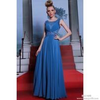 蓝色宾客礼服,修身典雅礼服,宾客及地礼服,高级演奏会礼服图片