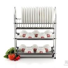 奥的五金不绣钢三层沥水碗碟架大容量厨房置物架碗筷晾放碗架图片