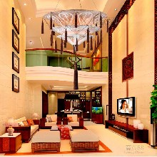 古香古色中式布艺吊灯酒店三层布大吊灯复式楼客厅大吊灯